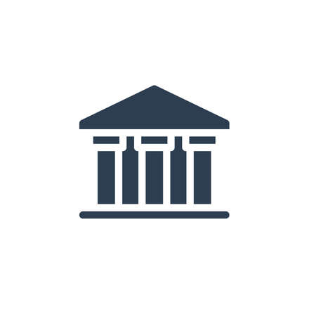 public bank building, university or museum, classic greek architecture solid flat icon. Vector glyph illustration. Black pictogram isolated on white background