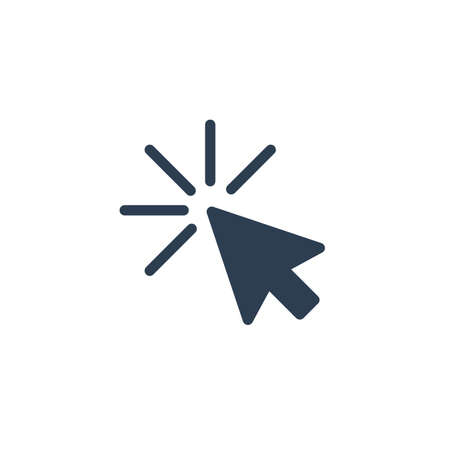 cursor arrow, click solid flat icon. Vector glyph illustration. Black pictogram isolated on white background 矢量图像