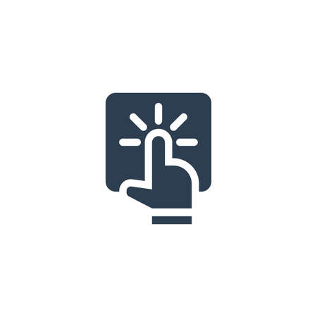 Touchscreen action, finger click, tap solid flat icon. Vector glyph illustration. Black pictogram isolated on white background 矢量图像
