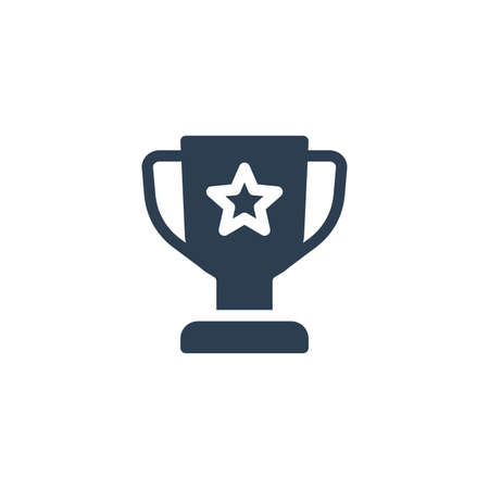 Award with star, trophy cup solid flat icon. Vector glyph illustration. Black pictogram isolated on white background