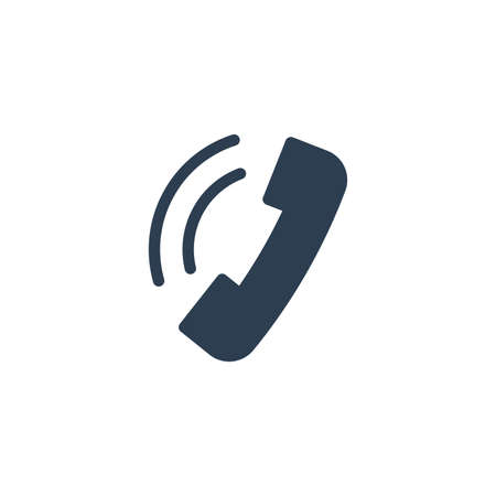 telephone call, contact us, handset, phone solid flat icon. Vector glyph illustration. Black pictogram isolated on white background 矢量图像