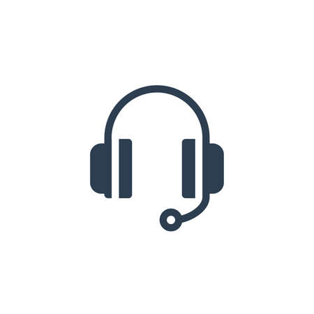 technical support, headphones microphone, operator solid flat icon. Vector glyph illustration. Black pictogram isolated on white background 矢量图像