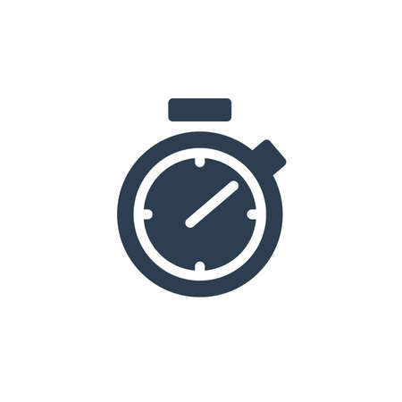 stopwatch solid flat icon. Vector glyph illustration. Black pictogram isolated on white background