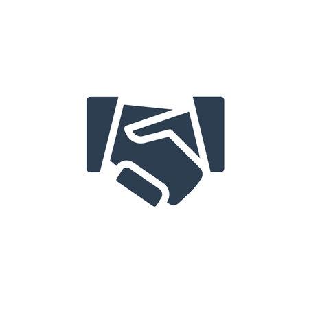 handshake solid flat icon. Vector glyph illustration. Black pictogram isolated on white background 矢量图像