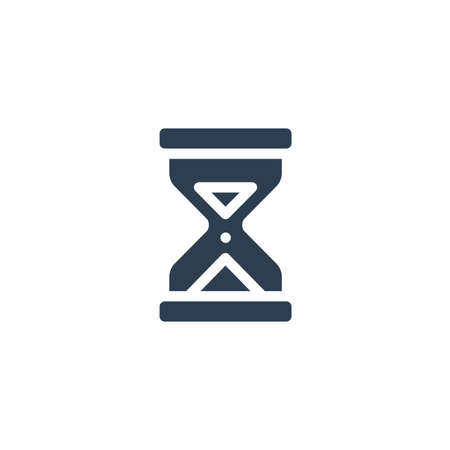 timer, sand hourglass, glass clock solid flat icon. Vector glyph illustration. Black pictogram isolated on white background