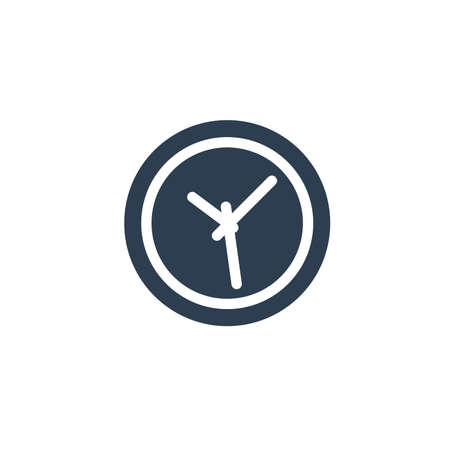 clock solid flat icon. Vector glyph illustration. Black pictogram isolated on white background