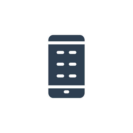 smartphone, mobile phone solid flat icon. Vector glyph illustration. Black pictogram isolated on white background 矢量图像
