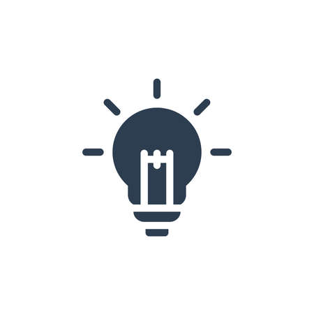 light bulb, idea solid flat icon. Vector glyph illustration. Black pictogram isolated on white background 矢量图像