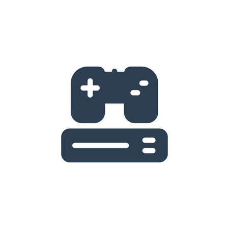 Console and joystick, gaming solid flat icon. Vector glyph illustration. Black pictogram isolated on white background