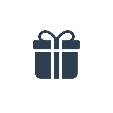 gift box solid flat icon. Vector glyph illustration. Black pictogram isolated on white background