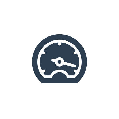 speedometer, dashboard solid flat icon. Vector glyph illustration. Black pictogram isolated on white background