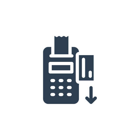POS terminals with approved, receipts, inserted credit card. Checkout, terminal payment, pay solid flat icon. Vector glyph illustration. Black pictogram isolated on white background