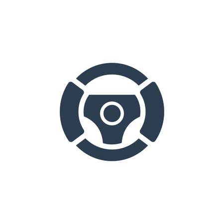 Steering wheel solid flat icon. Vector glyph illustration. Black pictogram isolated on white background 矢量图像