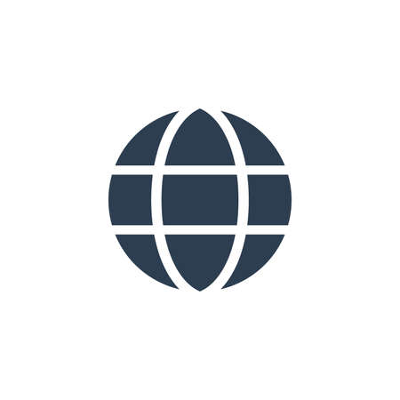 earth, globe solid flat icon. Vector glyph illustration. Black pictogram isolated on white background 矢量图像