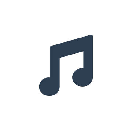 music note symbol solid flat icon. vector illustration