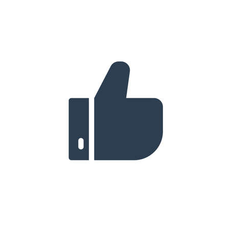 like, thumb up solid flat icon. vector illustration