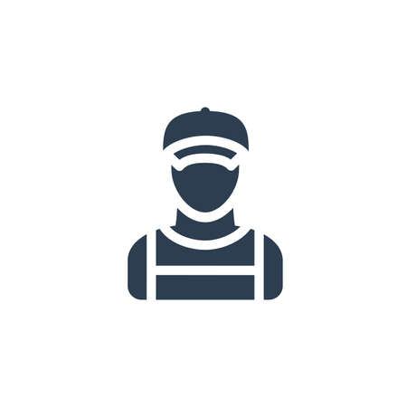 Delivery man in red uniform solid flat icon. vector illustration