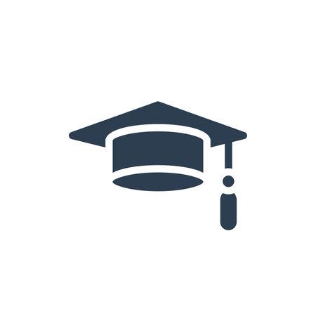 graduation hat solid flat icon. vector illustration