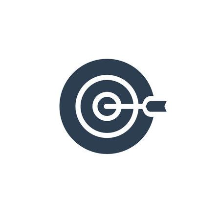 target, goal, success marketing concept, arrow center solid flat icon. vector illustration 矢量图像