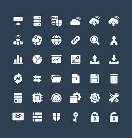 Vector flat icons set and graphic design elements. Illustration with big data and analytics technology solid symbols. Bigdata, database, seo, server, information security glyph pictogram