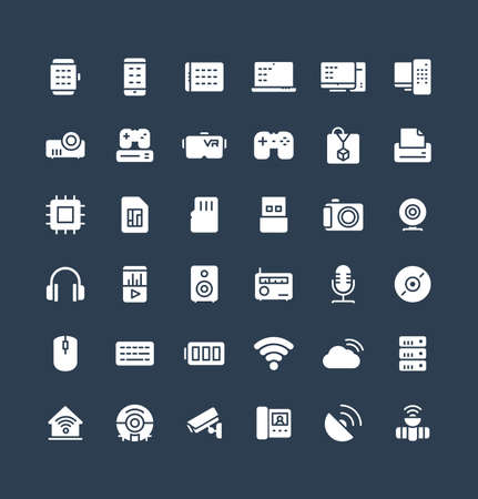 Vector flat icons set and graphic design elements. Illustration with digital and wireless technology solid symbols. Smart phone, laptop, tablet, pc, virtual reality, 3d print glyph pictogram