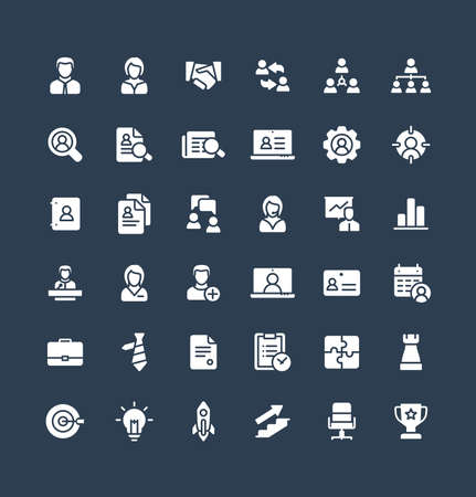 Vector flat icons set and graphic design elements. Illustration with business and management solid symbols. Marketing research, strategy, work people, career, job interview glyph pictogram