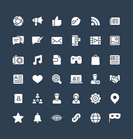Vector flat icons set and graphic design elements. Social media, network solid symbols illustration. Like, video content, message, comment, subscribe, profile, views, followers glyph pictogram