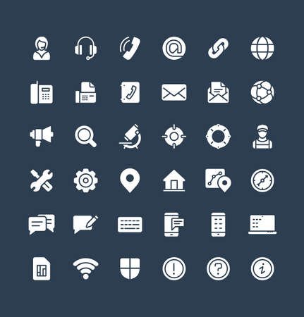 Vector flat icons set and graphic design elements. Illustration with contact us, technical support service solid symbols. Communication, client call, envelope, customer care glyph pictogram 矢量图像