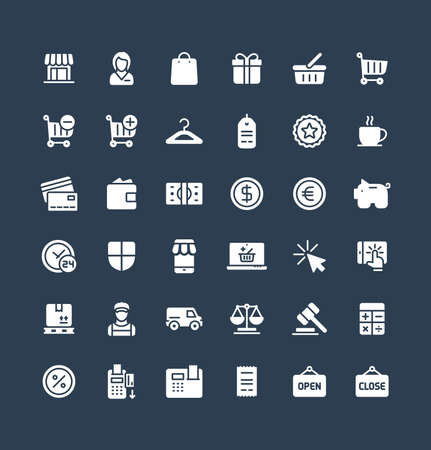 Vector flat icons set and graphic design elements. Illustration with shopping, e-commerce solid symbols. Internet market, store, delivery, gift box, bag, payment, pay per click pictogram