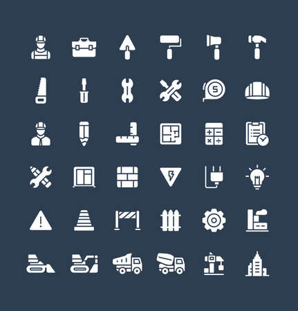 Vector flat icons set and graphic design elements. Illustration with construction, industrial, architectural, engineering solid symbols. Home repair tools, worker, build glyph pictogram