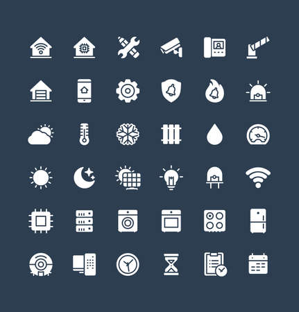 Vector flat icons set, graphic design elements. Illustration with home, smart house, solid symbols. Robot vacuum cleaner, oven, device, security, wireless remote control system glyph pictogram
