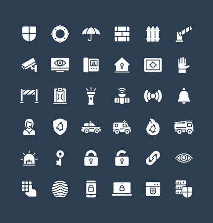 Vector flat icons set, graphic design elements. Illustration with security, cyber safety solid symbols. Protection, brick wall, camera, video monitor, home lock, control access glyph pictogram