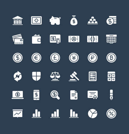 Vector flat icons set and graphic design elements. Illustration with banking and finance solid symbols. Bank, card, wallet, coin, safe, money bag, cash, dollar, euro, bitcoin glyph pictogram