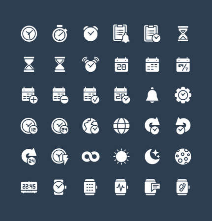 Vector flat icons set and graphic design elements. Illustration with date, time solid symbols. Alarm clock, smart watch, stopwatch, timer, organizer, planning and management glyph pictogram