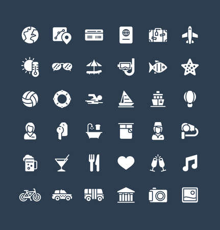 Vector flat icons set and graphic design elements. Illustration with travel, tourism solid symbols. Summer vacation, hotel room service, luggage, sunglasses, passport, resort glyph pictogram