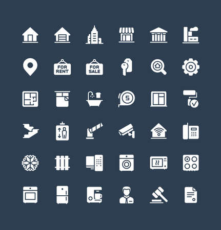 Vector flat icons set, graphic design elements. Illustration with real estate solid symbols. Residential properties, apartments, store, office agency, rent room, bathroom, lift glyph pictogram