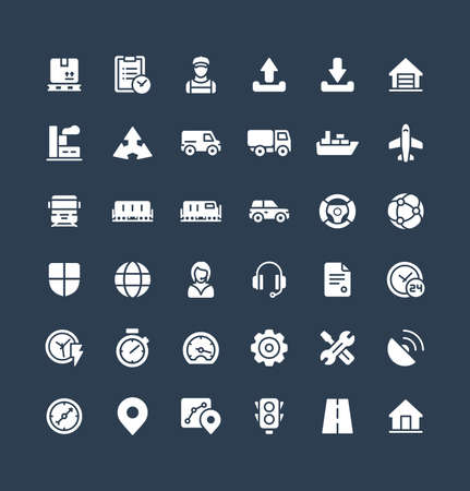 Vector flat icons set and graphic design elements. Illustration with Logistic, delivery business, distribution solid symbols. Service, export, shipping, transport glyph pictogram