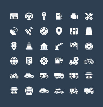 Vector flat icons set and graphic design elements. Illustration with transport, navigation solid symbols. Driver license, wheel, gas station, road service, GPS, traffic light glyph pictogram