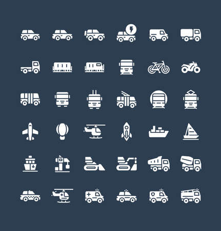 Vector flat icons set and graphic design elements. Illustration with public transport, cars solid symbols. Electric auto, minivan, truck, train, bicycle, bus, metro, airplane glyph pictogram