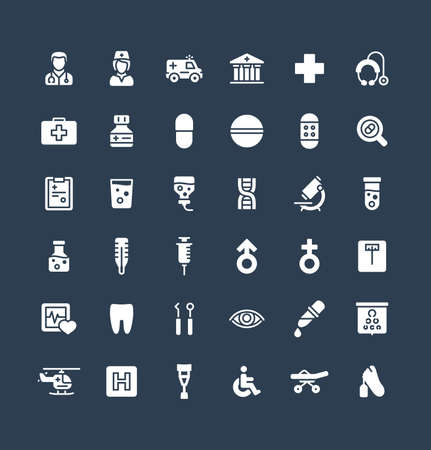 Vector flat icons set and graphic design elements. Illustration with medical, medicine and healthcare solid symbols. Dentist, health, ambulance, care, doctor, pill, stethoscope glyph pictogram 矢量图像