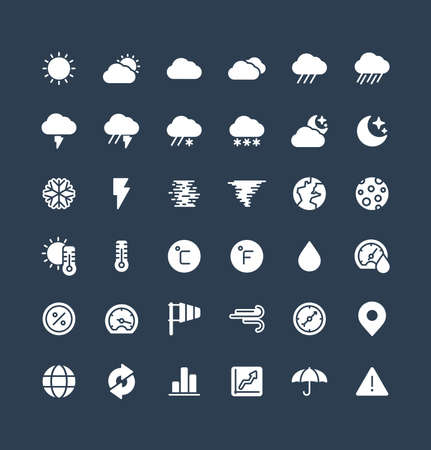 Vector flat icons set and graphic design elements. Illustration with weather and meteo solid symbols. Sun, cloud, rain, snow, moon, thermometer, humidity, umbrella flat glyph pictogram