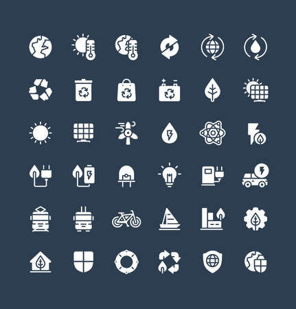Vector flat icons set and graphic design elements. Illustration with environmental and ecology solid symbols. Eco, bio energy, wind power, recycle, electric car charge station glyph pictogram