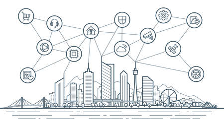 Smart city connection concept. Futuristic tech landscape whith integrated thin line icons. Outline future city panorama. Abstract vector town. Urban skyline with skyscrapers, office and home buildings