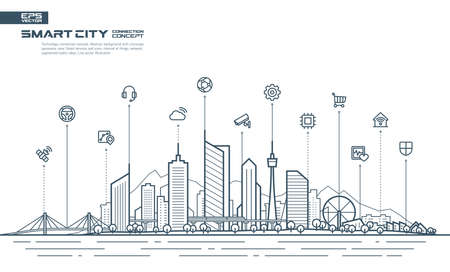 Editable vector. Smart city connection concept. Futuristic tech landscape whith integrated thin line icons. Growth network system, shopping, medicine, security, rental, transport, delivery services.