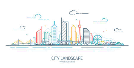 Futuristic cityscape thin line art illustration. Outline future city panorama. Abstract town landscape. Urban skyline with downtown skyscrapers, office buildings, park. Modern architectural exterior 矢量图像