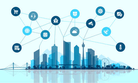 Vector flat illustration. Smart city connection concept. Tech landscape whith integrated thin line icons. Growth network system, shopping, medicine, security, rental, transport, delivery services.