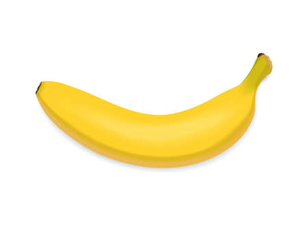 Yellow banana isolated on white background. Fresh snack, healthy food concept. Closeup Vector 3d illustration, top view. Transparent shadows. 矢量图像