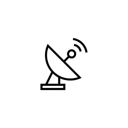 antenna or satellite icon design illustration in outline style design on white background