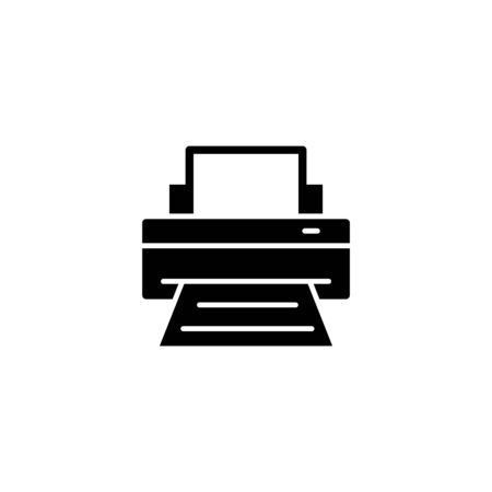 Printer icon vector design illustration in black flat design on white background