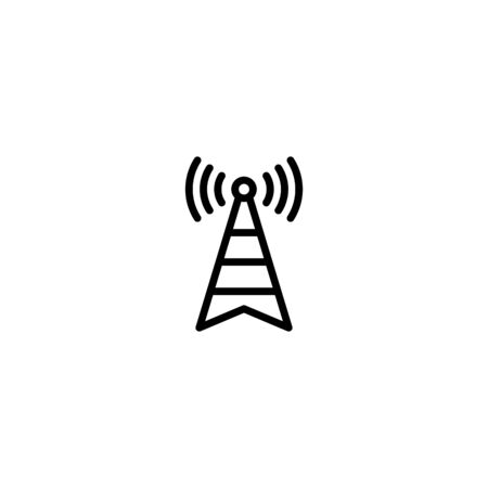 broadcast, transmitter antenna icon design vector illustration in outline style design on white background